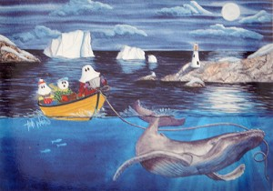 "Sherpa Blanket - Mummers Afloat -  by Trish Walsh - 50"" x 60"""