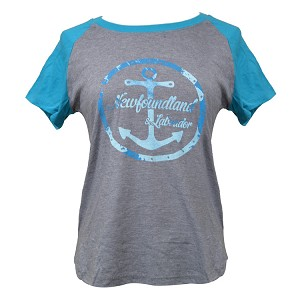 Ladies - T Shirt - Anchor - Newfoundland & Labrador - Grey with Teal and Blue