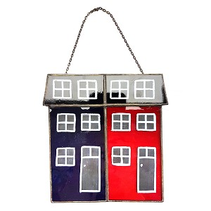 "Stained Glass Rowhouses - Large - 5.25"" x 5"""