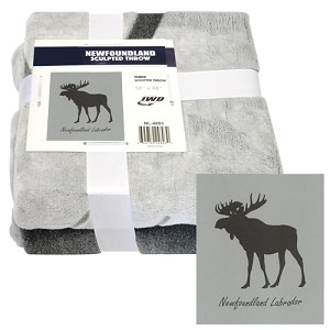 Throw - Faux Fur - Sculpted Moose - 50 x 60 - Grey