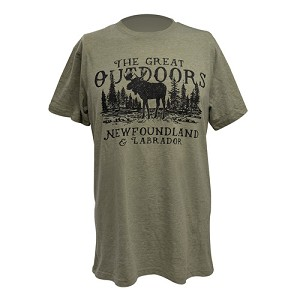 T Shirt - The Great Outdoors Moose - Newfoundland and Labrador -  Army Green