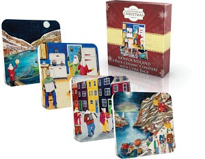 Coasters - Ceramic with Cork Back - Newfoundland Assorted scenes - 4 per Pkg