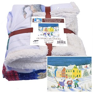 Fleece Throw - Sherpa - Outport Mummers by Trish Walsh - 50 x 60