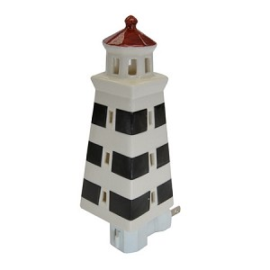 Night Light - Light House - Black and White Stripes - 7""