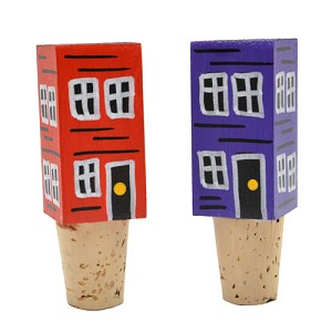 Wine Topper - Hand Painted Row Houses - Sold Separately - 3.5""