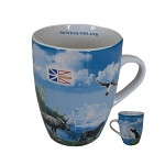 Newfoundland Scene - Moose, Puffin, Flag & Dog - Mug
