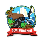 Newfoundland and Labrador Rubber Magnet with Icons - Multi-Moose