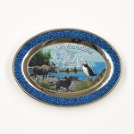 Oval Magnet with Puffin, Moose, NL Dog and Iceberg
