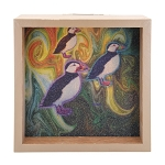 Colourful Puffin Light Box - Brown Frame