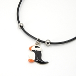 Puffin Necklace on Black Cord