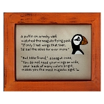 Cross Stitch on Wooden Frame - Puffin - Orange Frame