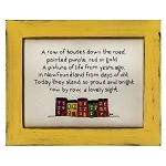 Cross Stitch on Wooden Frame - Row House - Yellow Frame