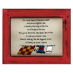 Cross Stitch on Wooden Frame - Laundry - Red Frame