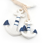 Anchor & Rope Ornament - Blue