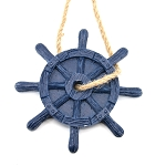 Ships Wheel Ornament - Navy