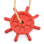 Ships Wheel Ornament - Red