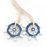 Ships Wheel & Rope Ornament - Blue