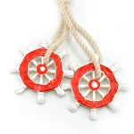 Ships Wheel & Rope Ornament - Red
