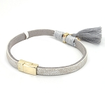 Faux Leather Bracelet with Tassels