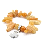 Semi-precious Stone Bracelet with Maple Leaf Charm