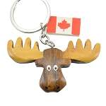 Wooden Moose Head Keychain