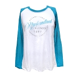 Long Sleeve Shirt - White & Heather Turquoise
