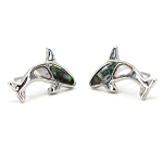 Glacier Pearl Stud Earrings - Orca Whale