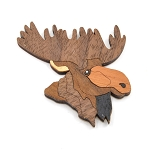 Wooden JIGSAW Moose Magnet