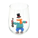 Mummer with Violin - Hand-Painted Stemless Wine Glass