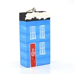 Hand Painted Wooden Blue House Ornament