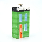 Hand Painted Wooden Green House Ornament