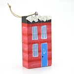 Hand Painted Wooden Red House Ornament