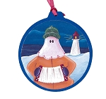 Mummer with Accordion Ornament - Round