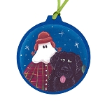 Mummer with Newfoundland Dog Ornament - Round