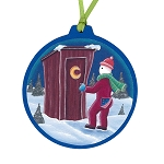 Mummer in Outhouse Ornament - Round