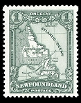 Canvas Print - Vintage Newfoundland Stamp - 11 x 14 - Newfoundland & Labrador Map - Green