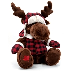 Moose Plush with Red Checkered Toque and Lumber Jacket