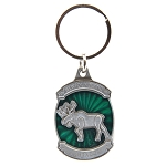 Keychain - Newfoundland and Labrador Green Metal Moose