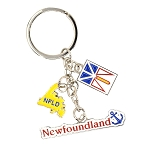 Keychain - NL Charms: Newfoundland Flag, Anchor & Map