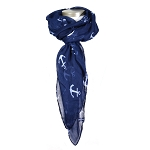 Navy Scarf with White Anchors