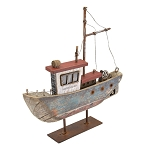 Wooden Fishing Boat - Red/White/Blue