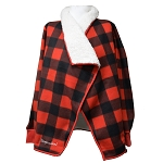 Ladies - Ultra Soft - Red Checked Sherpa Jacket