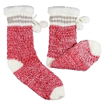 Coffee Shoppe - Slipper Socks - Red with Pompom's