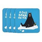 A Cold Bear on Ice Set of 4 Coasters