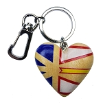 Wooden Heart Key Ring with Newfoundland Flag - 4