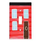 Hand Painted - Row House - Switch Plate - Red