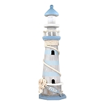 Tall Blue Wooden Lighthouse