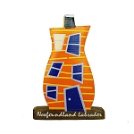 Wooden Rowhouse Magnet Orange - 2.5