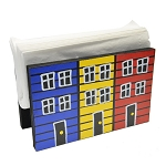 Hand Painted - Napkin Holder - 3 Row houses - 6