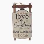 Ornament - Wooden Sleigh - May the love of Christmas fill this Newfoundland Home - 5 x 2.5